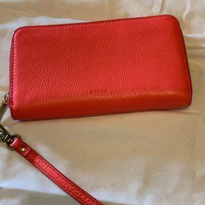 Fossil leather zip around wristlet